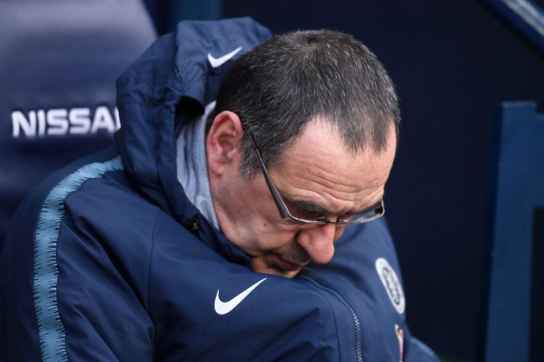Maurizio Sarri's position at Chelsea is under threat after getting hammered by Manchester City