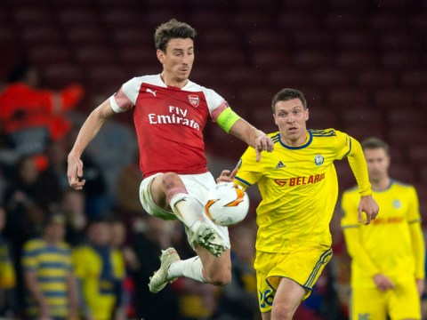 Laurent Koscielny suffers injury setback during Arsenal's Europa League win vs BATE