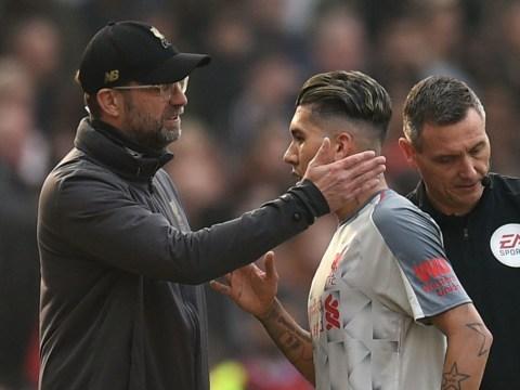 Jurgen Klopp reveals how Liverpool will cope if Roberto Firmino misses Watford game