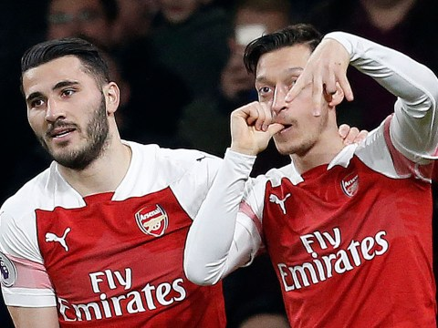 Arsenal fans in meltdown as Mesut Ozil scores against Bournemouth with trademark bounce shot