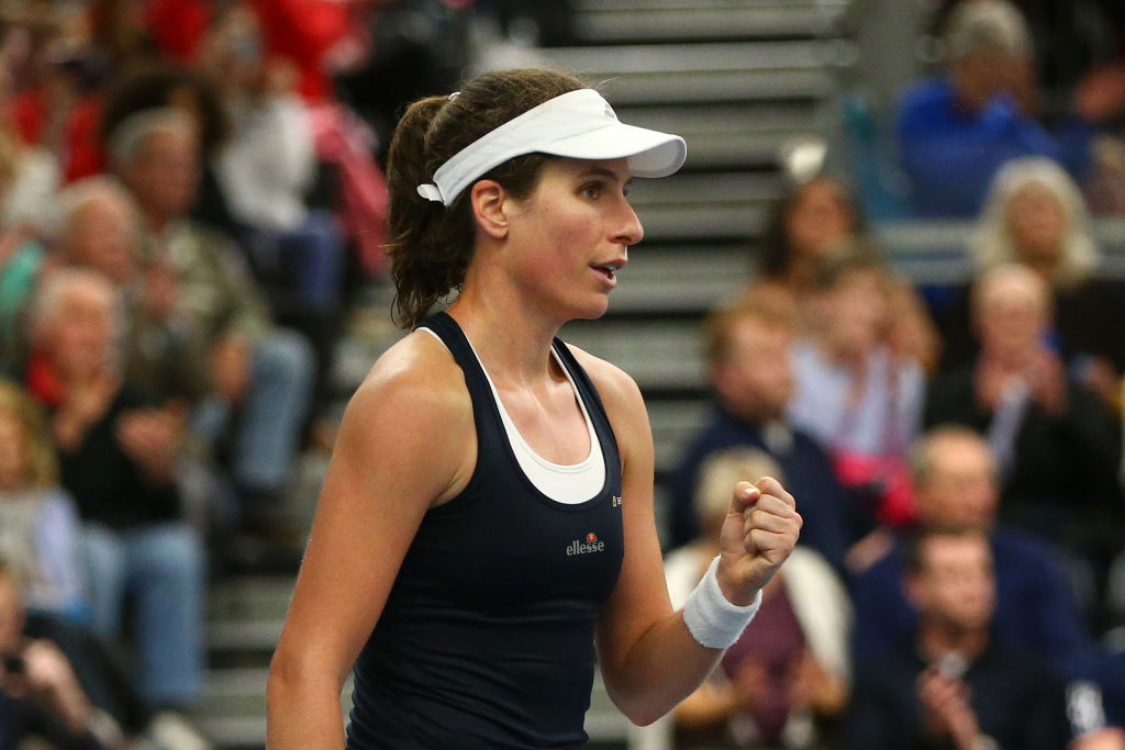 Johanna Konta reacts to securing Great Britain's first home victory in 26 years after hard-fought win