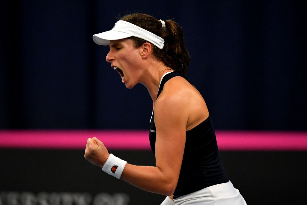Johanna Konta sets up Fed Cup shootout with Hungary after firing Great Britain past Maria Sakkari and Greece