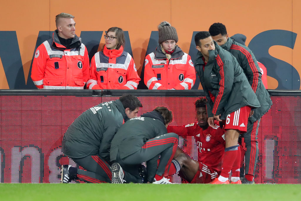 Bayern Munich star Kingsley Coman limps out of Augsburg clash ahead of Liverpool tie