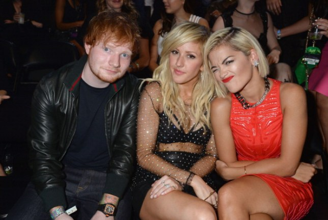 Ed Sheeran, Ellie Goulding and Rita Ora attend the 2013 MTV Video Music Awards