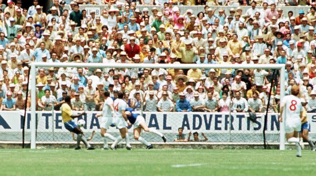 1970 World Cup Finals, Guadalajara, Mexico 7th June, 1970, England 0 v Brazil 1, Brazil's Pele directs his header towards the England goal, Many fans behind are already celebrating but England keeper Gordon Banks (partially hidden) manages to get across his goal and scoop the ball over the bar for a corner