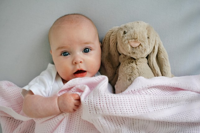 Baby in bed with soft toy