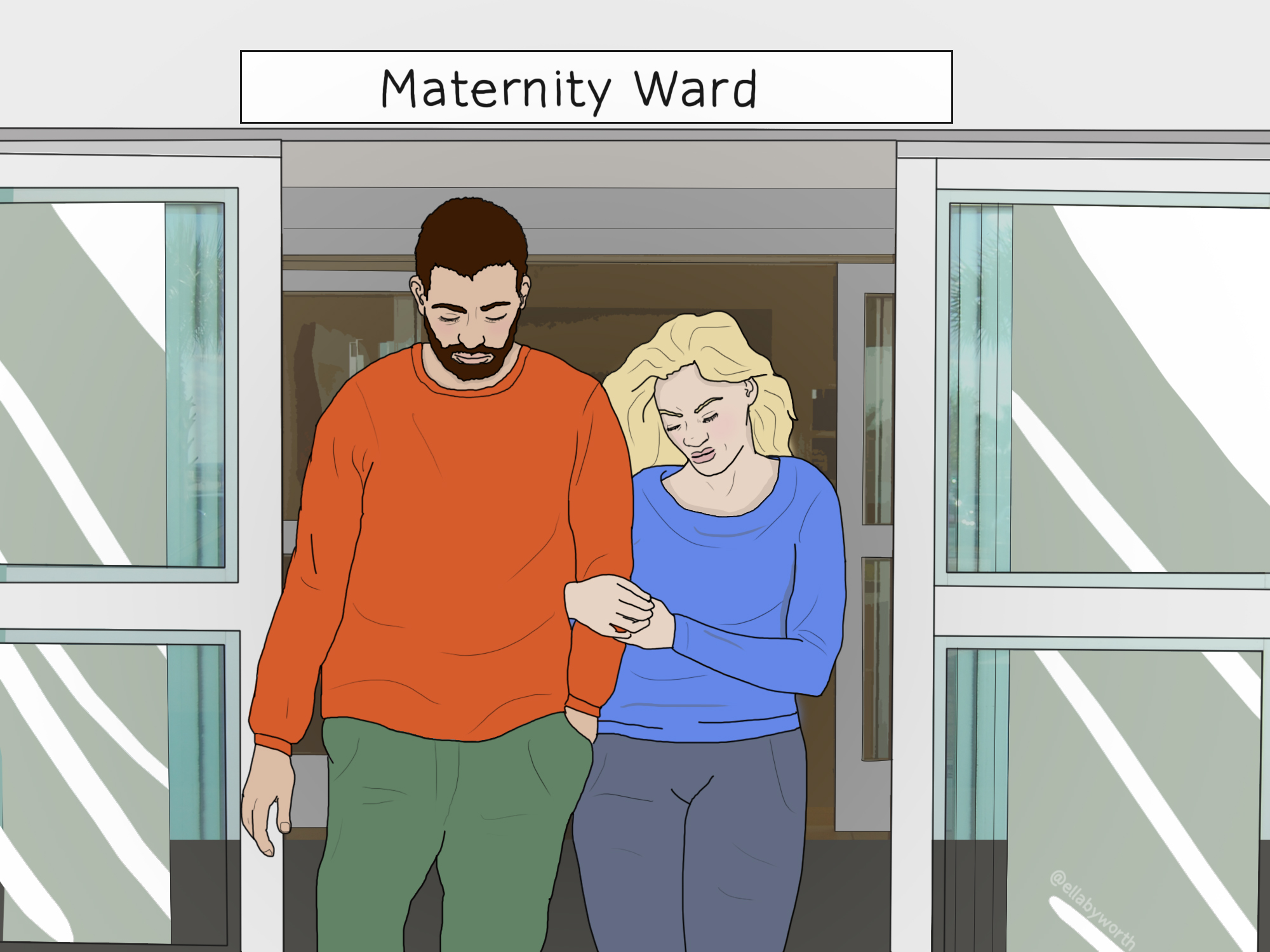 Illustration of a man and woman leaving a maternity ward