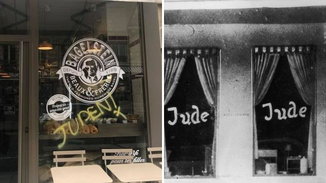 Echoes of the past as Paris shops are daubed with 'Juden' graffiti