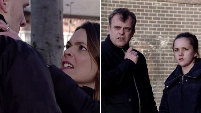 Amy is horrified as Tracy attacks Tyler in Coronation Street