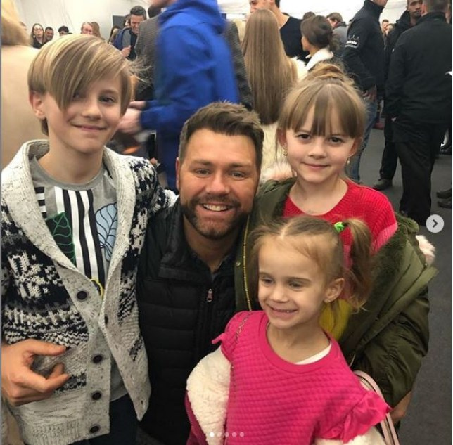 Brian McFadden with Kerry Katona's three youngest children