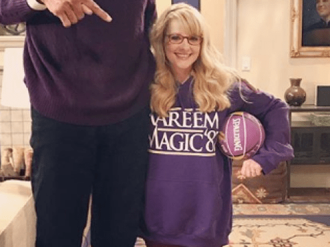 The Big Bang Theory guest star Kareem Abdul-Jabbar towers over Melissa Rauch in hilarious sneak preview