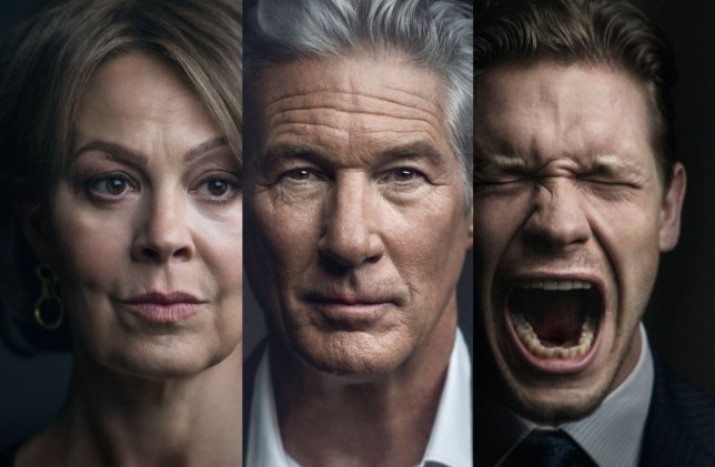 richard gere, helen Mccrory and billy howle as their characters in motherfatherson