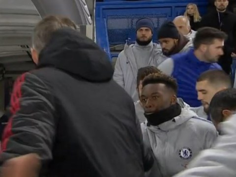 Ole Gunnar Solskjaer approaches Callum Hudson-Odoi after Chelsea's defeat to Manchester United