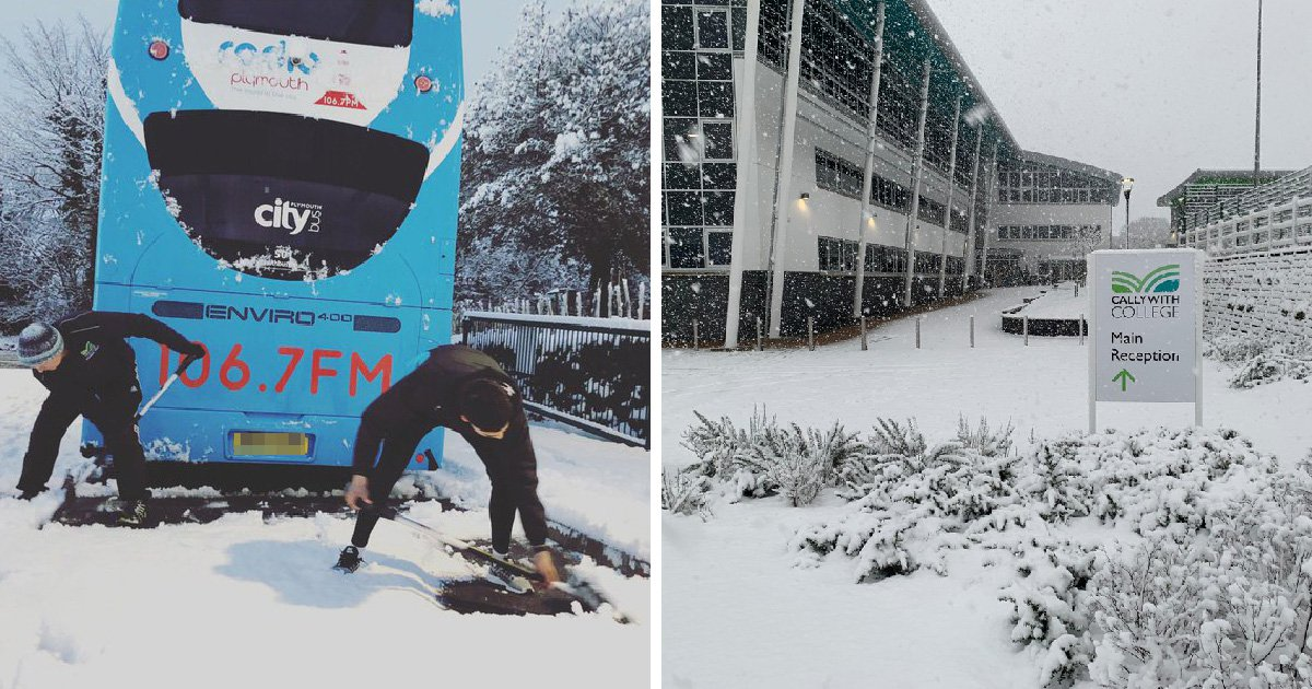 Students forced to sleep at college after heavy snow closes roads