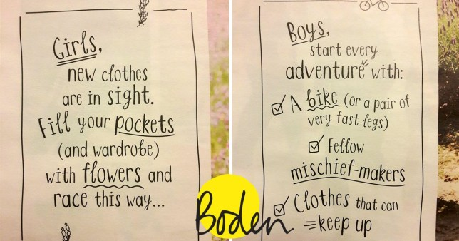 187dbe3ea277 Children's clothing brand Boden apologises for gender sterotyping ...