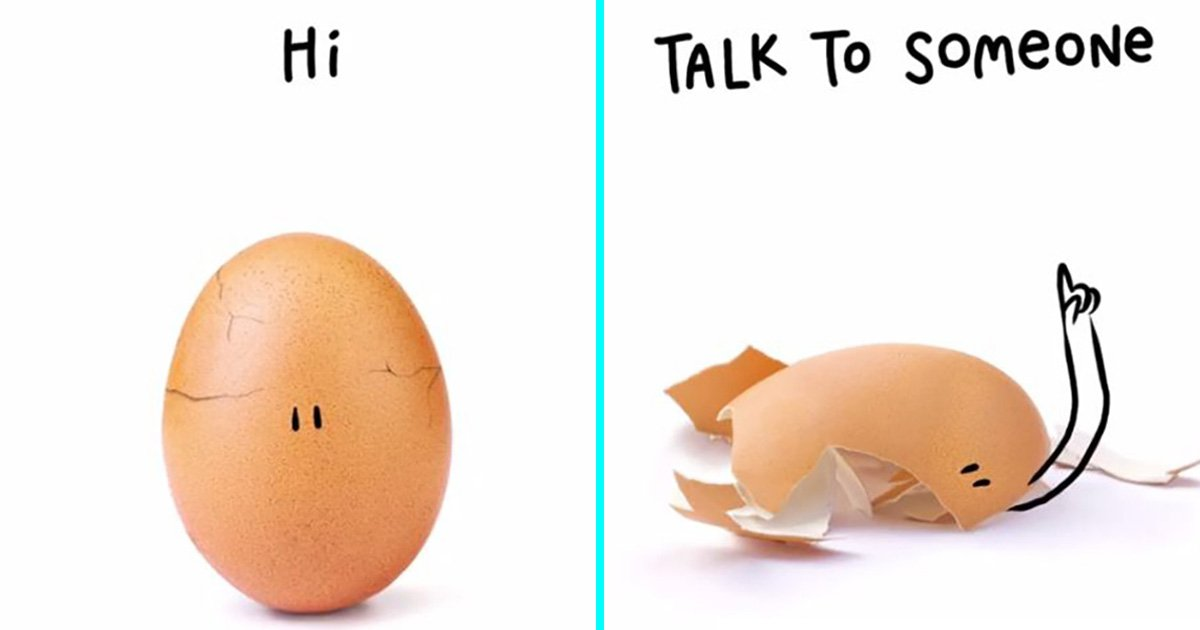 Instagram world record egg cracks to reveal heartwarming mental health message