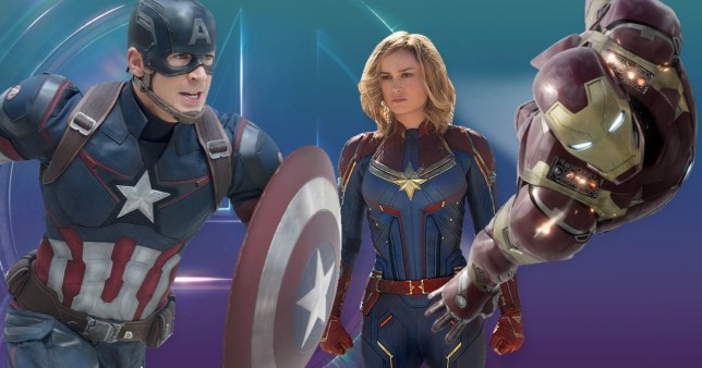 captain america, captain marvel, and iron man against a blue and purple backdrop