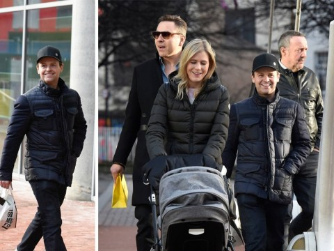 Declan Donnelly enjoys walk with baby Isla, wife Ali and David Walliams after admitting parenting is 'hard'