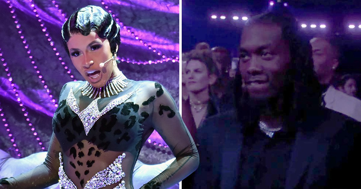 Offset can't keep his jaw off the floor as he watches wife Cardi B perform at the Grammys 2019