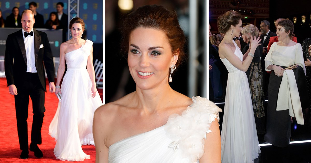Kate Middleton wows at Baftas with stunning Alexander McQueen white dress