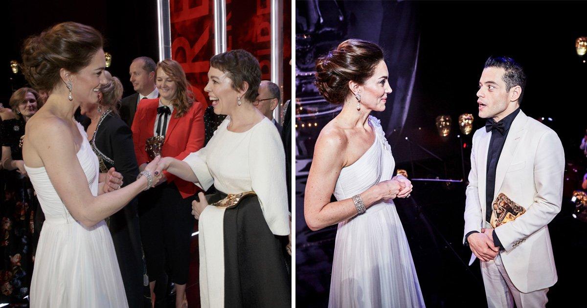 Duchess Kate meets acting royalty Olivia Colman and Rami Malek after huge 2019 Baftas wins