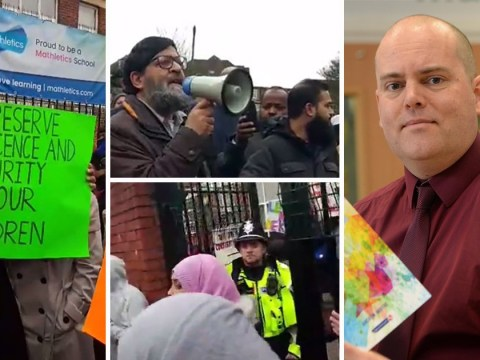 Mob of 100 parents gather outside school to protest against gay teacher