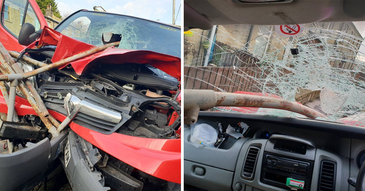 Driver cheats death as pole smashes through windscreen and misses him 'by inches'
