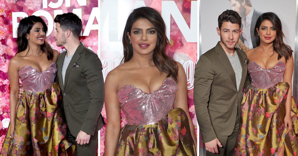 "Priyanka Chopra and Nick Jonas attend the premiere of ""Isn't It Romantic"""