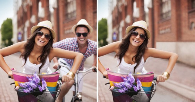 Two pictures of a couple riding bikes, but the ex-boyfriend is removed from the second photo