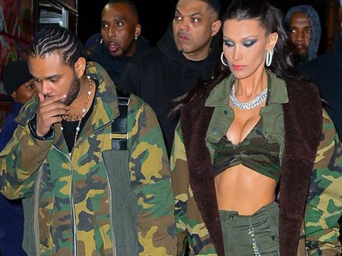 Bella Hadid catwalks into The Weeknd's birthday party like it's her own special day