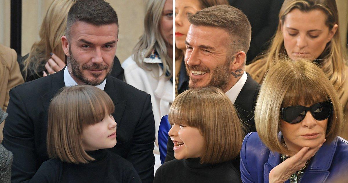 Harper Beckham is twinning with Anna Wintour at Victoria Beckham's LFW show