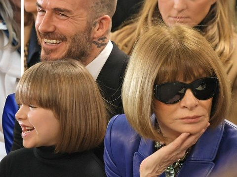 Harper Beckham is twinning with Anna Wintour at Victoria Beckham's LFW show