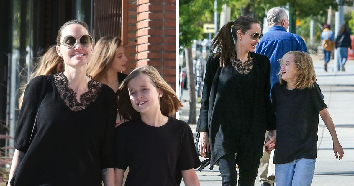 Angelina Jolie really loves shopping as she cracks massive grin while walking hand-in-hand with daughter Vivienne, 10