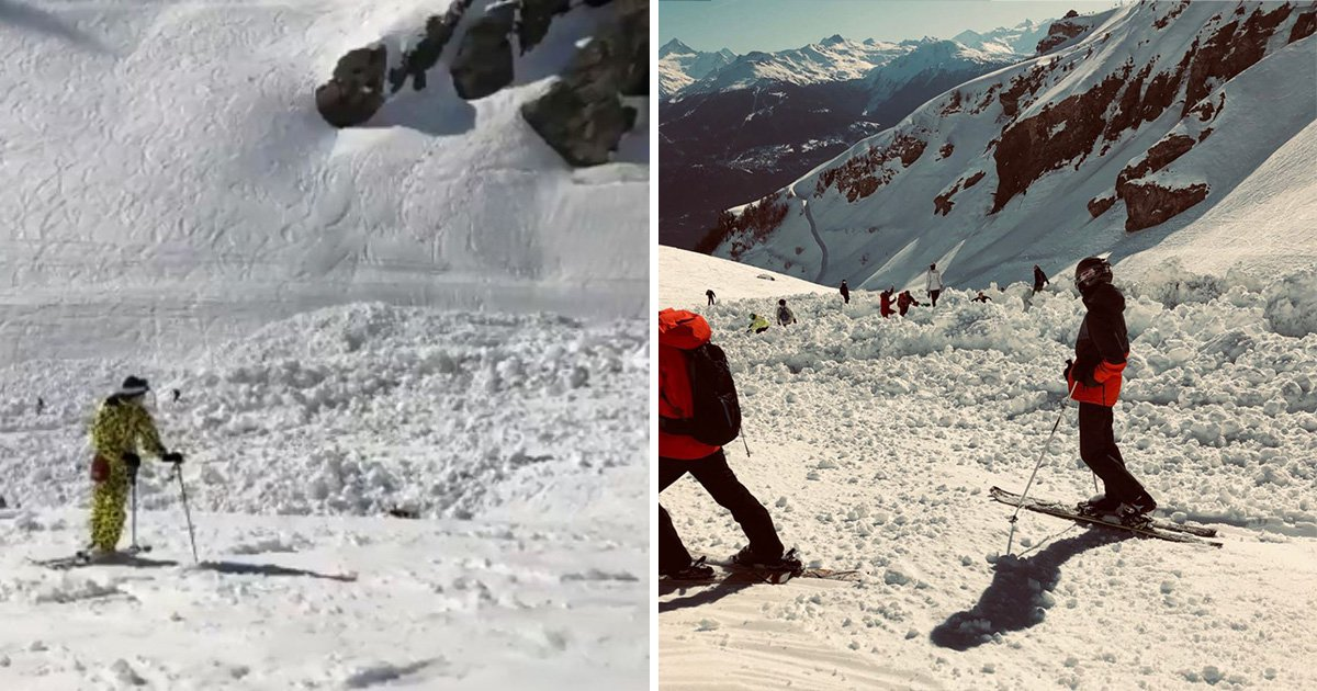 Skiers 'buried in snow' as avalanche tears down Swiss mountain