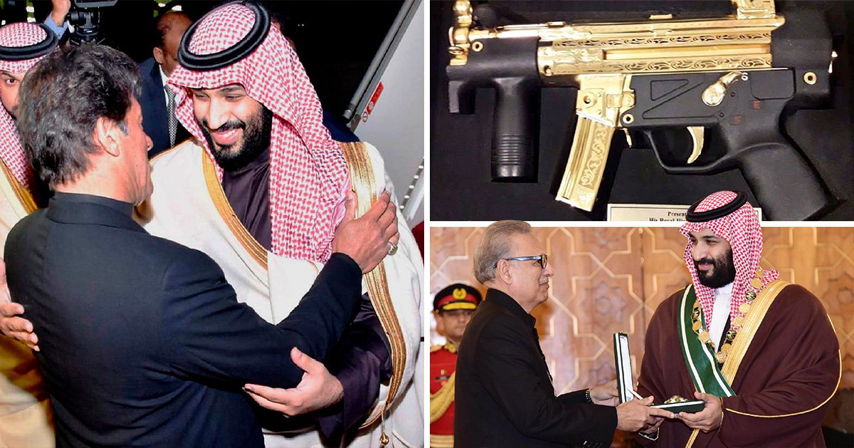 Saudi Crown Prince gets gift of a golden gun during visit to Pakistan