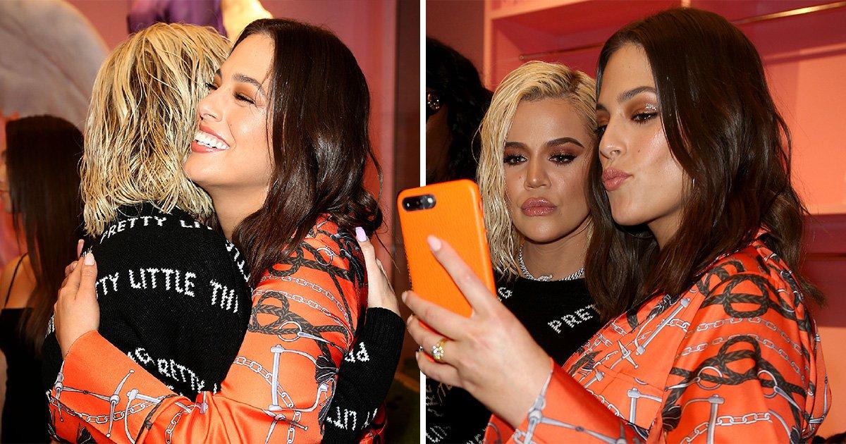 Khloe Kardashian gets huge hug from Ashley Graham after Tristan Thompson split