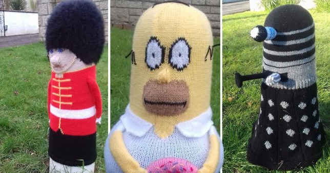 Knitter 62 Brings Cheer To Bollards With Snazzy Character Covers