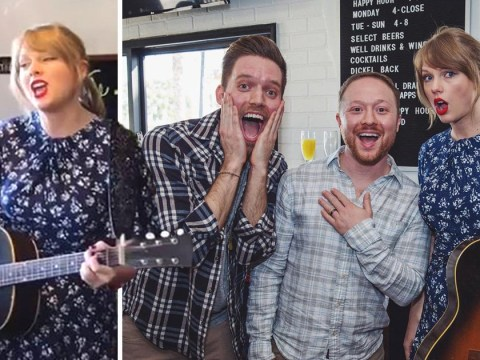 Taylor Swift surprises gay couple at engagement party with romantic song