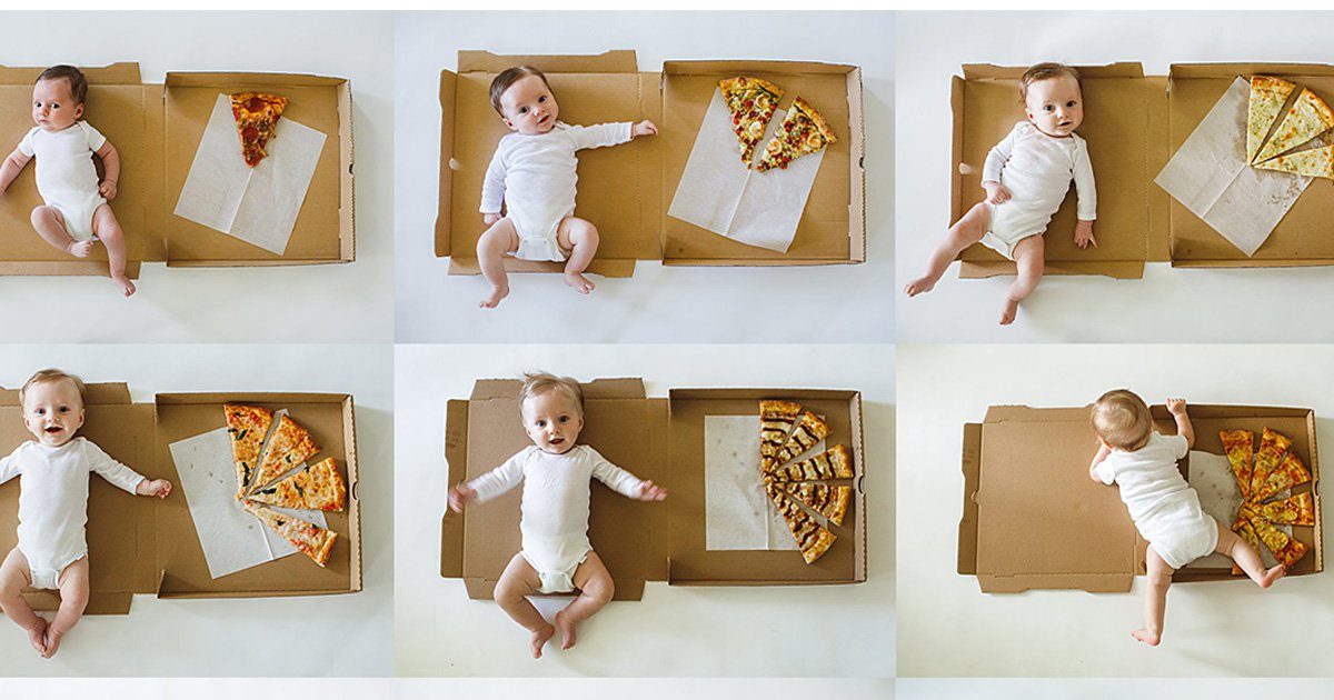 Mum measures baby's age using pizza slices in cheesy photoshoots
