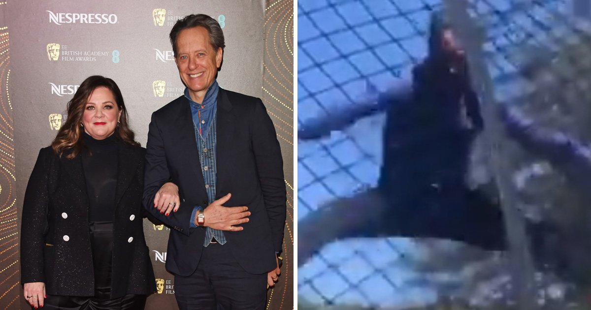 Richard E. Grant kicks off Oscars celebrations by trampolining with Melissa McCarthy
