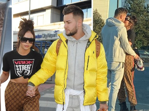 Jesy Nelson and Chris Hughes kiss outside airport as they confirm romance with lovers' weekend away