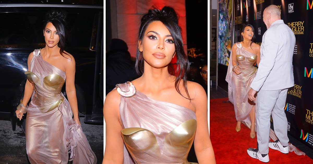 Kim Kardashian gives Wonder Woman run for her money as she rocks breastplate at fashion exhibit