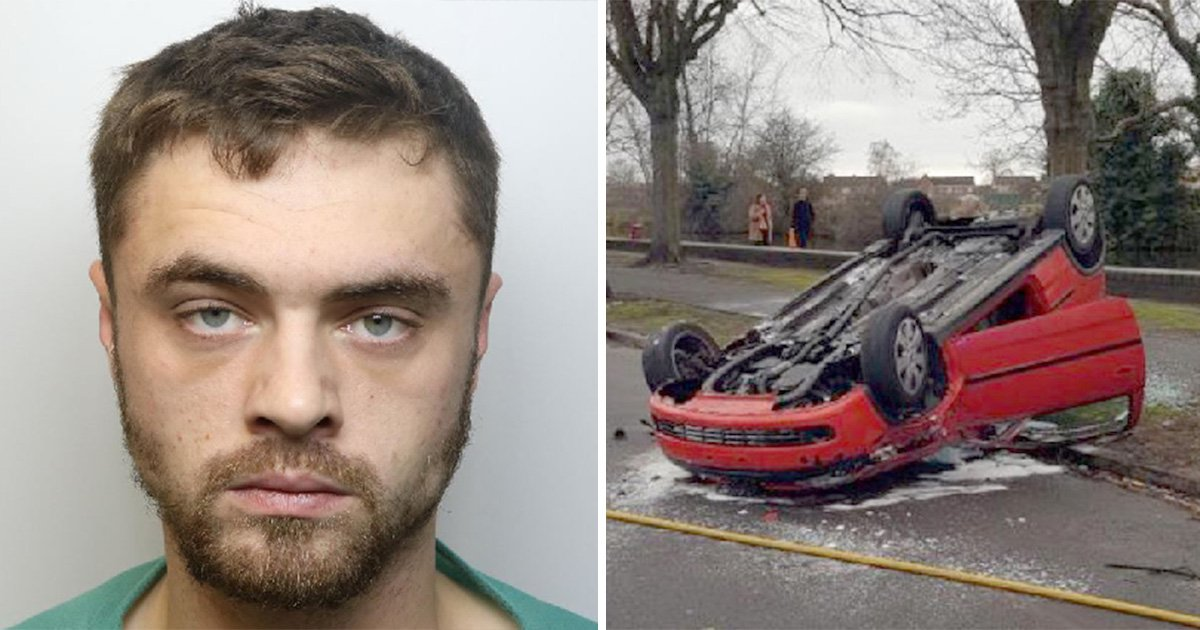 Coward, 25, left son and girlfriend in overturned car after crashing in police chase