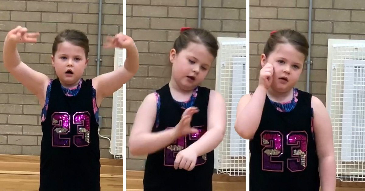 Girl, 7, performs song This is Me in sign language to be inclusive to deaf children