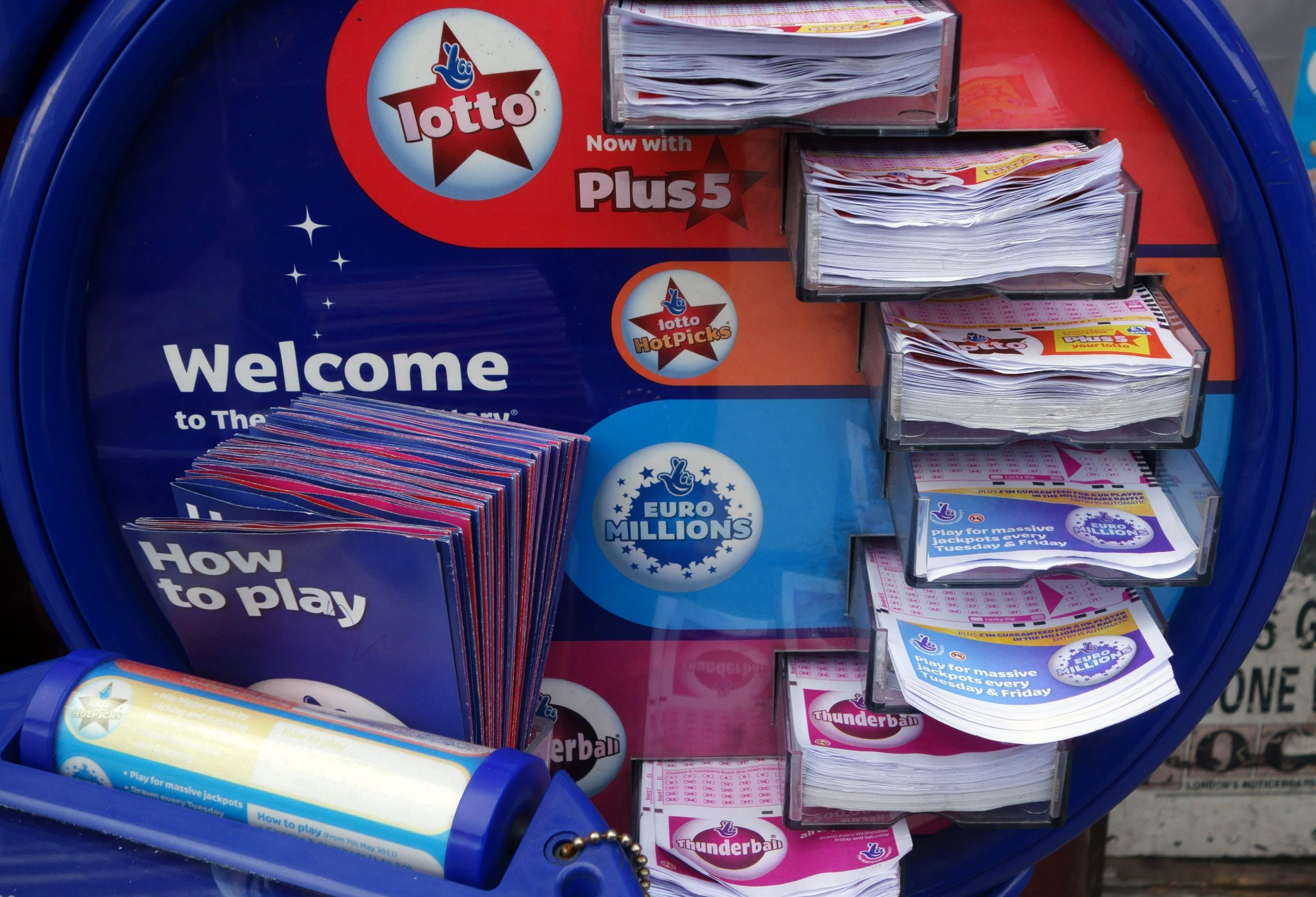 Mandatory Credit: Photo by Jeff Blackler/REX/Shutterstock (2229053d) Lotto and Euromillions dispenser outside London newsagents, Britain Various
