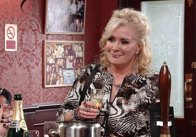 Editorial use only Mandatory Credit: Photo by ITV/REX/Shutterstock (8878245co) Aware that leaving her beloved pub will be a huge wrench, Sean presents Liz McDonald, as played by Beverley Callard, with a lucky charm to take with her to her new job. Liz is saddened but touched. Peter Barlow, Toyah Battersby, as played by Georgia Taylor, and Steve watch as Liz finally signs over her half of the pub. (Ep 9206 - Wed 12 July 2017). 'Coronation Street' TV Series - Jun 2017