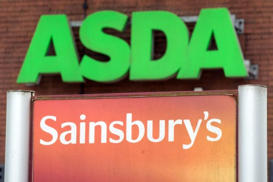 (FILES) In this file photo taken on April 30, 2018 Logos of supermarket chains Asda (top) and Sainsbury's are pictured outside adjacent branches of their stores in Stockport, northern England on April 30, 2018. - Bosses at top supermarkets and food chains on January 28, 2019 urged British lawmakers to avoid a no-deal Brexit or risk reducing the availability of many products. (Photo by Oli SCARFF / AFP)OLI SCARFF/AFP/Getty Images