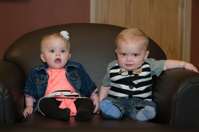 """Twins Blakeley and Cade. Nicole Zisemer,31, had been expecting to give birth to just one baby was staggered when she gave birth to TWINS - after a gruelling 47-hour labour. Grand Haven, Michigan, USA. .See SWNS story SWOC surprise.A first time mum who had been expecting to give birth to just one baby was staggered when she gave birth to TWINS - after a gruelling 47-hour labour.New parents Nicole, 31, and Matthew Zisemer, 34, were over the moon to be introduced to their baby daughter, Blakeley, when medics, who had already begun to stitch her vagina back up, announced that they could ???see a second head???.Nicole, from Grand Haven, Michigan, USA, had opted for a natural pregnancy without scans then gave birth to a baby boy - after having had no idea that they were expecting twins.Nicole, who worked in insurance before becoming a full-time mum, said: """"It was crazy, we were over the moon but it utter shock!"""