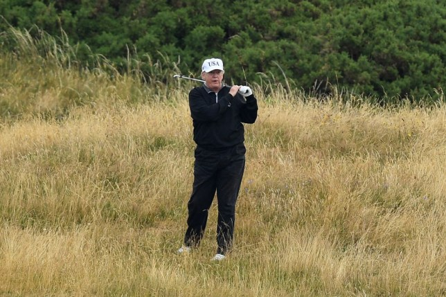 TURNBERRY, SCOTLAND - JULY 15: U.S. President Donald Trump plays a round of golf at Trump Turnberry Luxury Collection Resort during the U.S. President's first official visit to the United Kingdom on July 15, 2018 in Turnberry, Scotland. The President of the United States and First Lady, Melania Trump on their first official visit to the UK after yesterday's meetings with the Prime Minister and the Queen is in Scotland for private weekend stay at his Turnberry. (Photo by Leon Neal/Getty Images)
