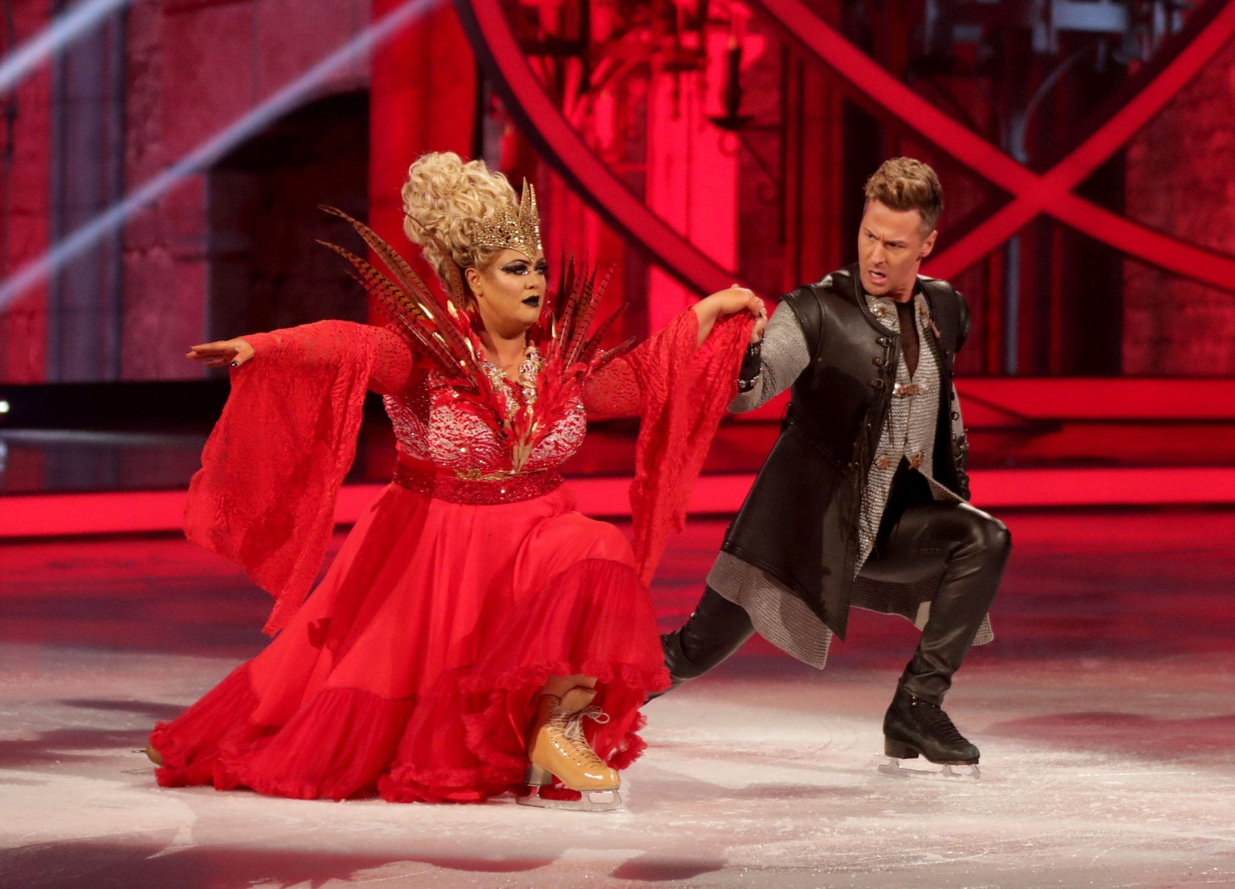 Editorial use only Mandatory Credit: Photo by Matt Frost/ITV/REX (10080492do) Gemma Collins and Matt Evers 'Dancing on Ice' TV show, Series 11, Episode 5, Hertfordshire, UK - 03 Feb 2019